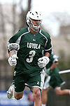 DURHAM, NC - MARCH 11: Loyola's Romar Dennis. The Duke University Blue Devils hosted the Loyola University Maryland Greyhounds on March 11, 2017, at Koskinen Stadium in Durham, NC in a Division I College Men's Lacrosse match. Duke won the game 15-7.
