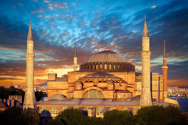 The exterior of the 6th century Byzantine (Eastern Roman) Hagia Sophia ( Ayasofya ) at sunset, built by Emperor Justinian. The size of the dome was un-surpassed until the 16th century, Istanbul, Turkey