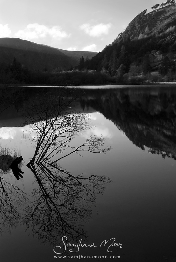 """Glendalough """"Glen of Two Lakes"""", Co.Wicklow, Ireland. The winter sun lies low in the sky over the lower lake. This site renowned for its Early Medieval monastic settlement founded in the 6th century by St Kevin, a hermit priest."""
