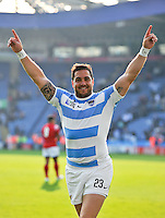 Horacio Agulla of Argentina celebrates the win after the match. Rugby World Cup Pool C match between Argentina and Tonga on October 4, 2015 at Leicester City Stadium in Leicester, England. Photo by: Patrick Khachfe / Onside Images