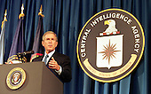 United States President George W. Bush speaks at the Central Intelligence Agency's headquarters in Langley, Virginia on September 26, 2001. U.S. Senate Intelligence Committee Vice Chairman Richard Shelby questioned the Tenet's competence in the wake of the September 11 attacks on New York and Washington. Bush voiced confidence in Tenet's abilities. 'I've got a lot of confidence in him and I've got a lot of confidence in the CIA. And so should America,' Bush told CIA employees, in his first visit to the spy agency's headquarters since the attacks..Credit: Martin Simon / Pool via CNP