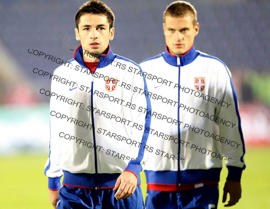 Fudbal, Qualifications for UEFA EURO 2012.Serbia Vs. Estonia.Marko Lomic, left and Nemanja Vidic.Belgrade, 08.10.2010..foto: Srdjan Stevanovic/Starsportphoto ©