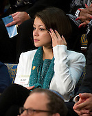 Samantha Garvey listens as United States President Barack Obama delivers the State of the Union Address in the U.S. House Chamber in the U.S. Capitol in Washington, D.C. on Tuesday, January 24, 2012..Credit: Ron Sachs / CNP.(RESTRICTION: NO New York or New Jersey Newspapers or newspapers within a 75 mile radius of New York City)