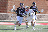 College Park, MD - February 18, 2017: High Point Panthers Michael LeClair is being defended by Maryland Terrapins Curtis Corley (42) during game between High Point and Maryland at  Capital One Field at Maryland Stadium in College Park, MD.  (Photo by Elliott Brown/Media Images International)