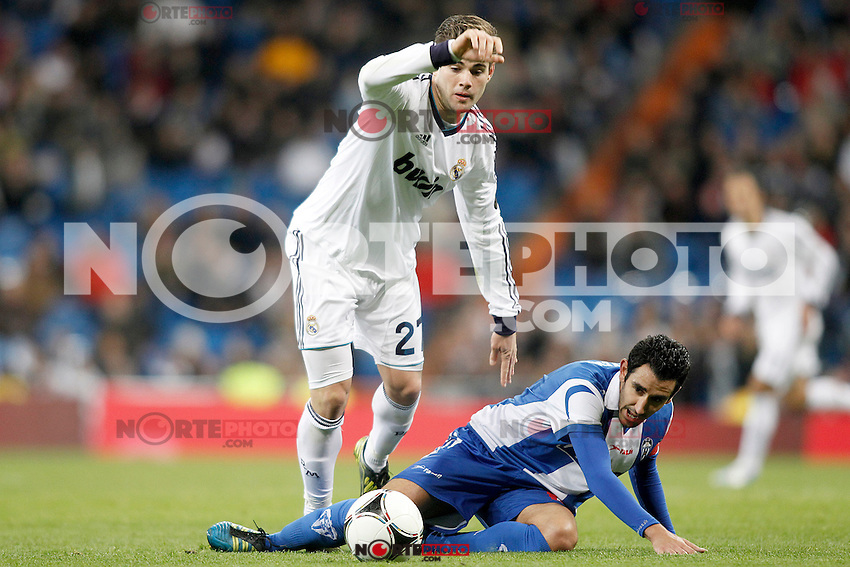 Real Madrid's Nacho Fernandez (l) and Alcoyano's Dani during Spanish King's Cup match.November 27,2012. (ALTERPHOTOS/Acero) /NortePhotoMx