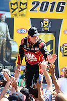 Jun 12, 2016; Englishtown, NJ, USA; NHRA top fuel driver Doug Kalitta during the Summernationals at Old Bridge Township Raceway Park. Mandatory Credit: Mark J. Rebilas-USA TODAY Sports