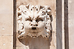 A stone face on the side of the St. Blaise Church in Dubrovnik, Croatia.