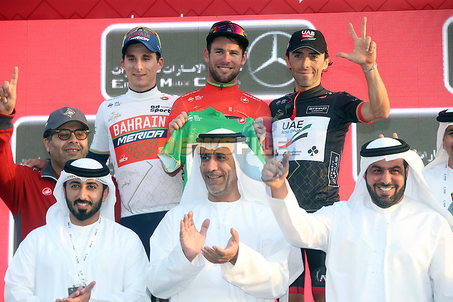 Niccolo Bonifazio (ITA) Bahrain-Merida wears the young riders White Jersey, stage winner and race leader Mark Cavendish (GBR) Team Dimension Data and Manuele Mori (ITA) UAE Abu Dhabi intermediate sprints Black Jersey on the podium at the end of Stage 1 Emirates Motor Company Stage of the 2017 Abu Dhabi Tour, running 189km from Madinat Zayed through the desert and back to Madinat Zayed, Abu Dhabi. 23rd February 2017<br /> Picture: ANSA/Matteo Bazzi | Newsfile<br /> <br /> <br /> All photos usage must carry mandatory copyright credit (&copy; Newsfile | ANSA)