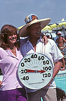 "Larry Hagman and Linda Gray on set of  ""Dallas,"" South Fork Ranch, Texas, 1980."