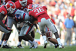 Ole Miss wide receiver Vince Sanders (10) fumbles against Georgia  at Sanford Stadium in Athens, Ga. on Saturday, November 3, 2012.