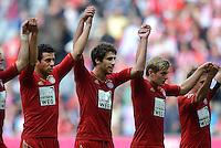 FUSSBALL   1. BUNDESLIGA  SAISON 2012/2013   3. Spieltag FC Bayern Muenchen - FSV Mainz 05     15.09.2012 Claudio Pizarro, Javi , Javier Martinez und Toni Kroos (v.li., FC Bayern Muenchen)