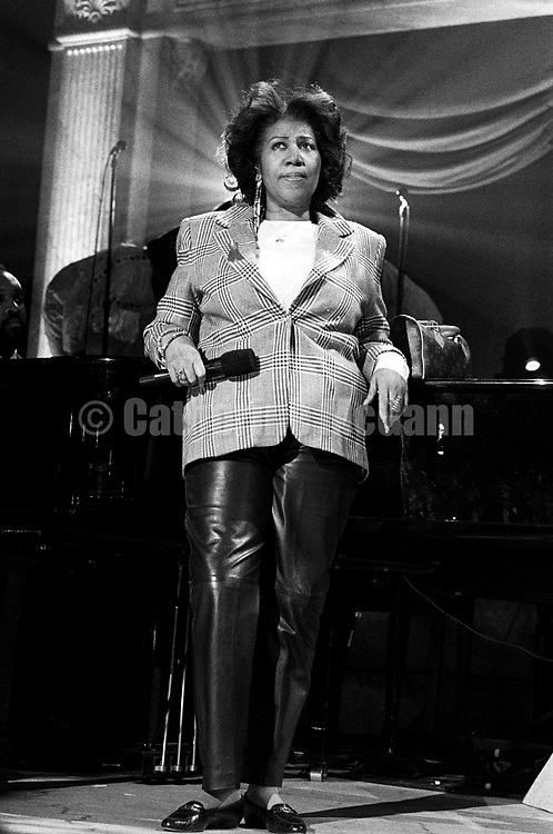 """NEW YORK - April 1993:  Aretha Franklin on stage at a rehearsal for the """"Aretha Franklin: Duets"""" concert to benefit the Gay Men's Health Crisis at the Nederlander Theater in April 1993 in New York City, New York. The concert was taped and broadcast on the Fox Network on May 9, 1993. (Photo by Catherine McGann)Copyright 2010 Catherine McGann"""