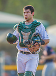 1 September 2013: Vermont Lake Monsters catcher Josh Miller returns to the dugout during game action against the Connecticut Tigers at Centennial Field in Burlington, Vermont. The Lake Monsters fell to the Tigers 6-4 in 10 innings of NY Penn League action. Mandatory Credit: Ed Wolfstein Photo *** RAW Image File Available ****