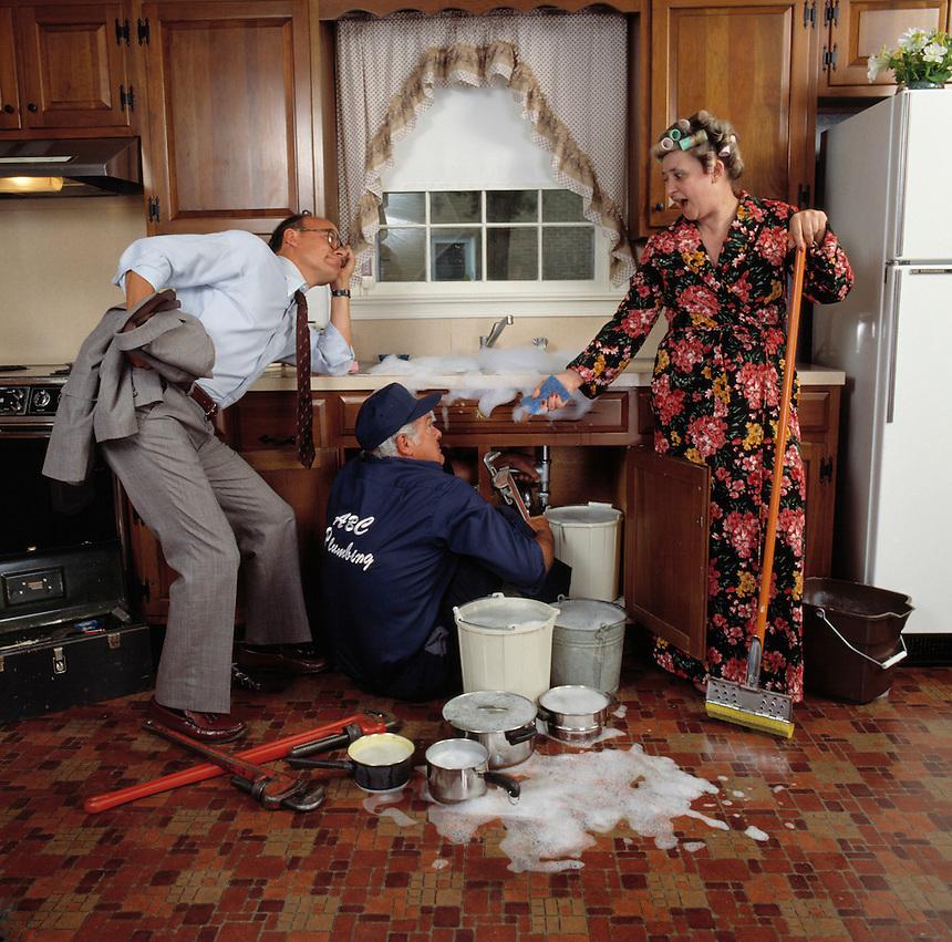 Kitchen Sink Jokes: Kitchen Sink Plumbing Disaster Housewife Plumber Husband