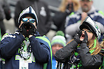 Seattle Seahawks fans make cheer their team against the Pittsburgh Steelers at CenturyLink Field in Seattle, Washington on November 29, 2015.  The Seahawks beat the Steelers 39-30.      ©2015. Jim Bryant Photo. All Rights Reserved.