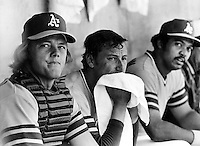 Dave Duncan, Ken Holtzman and Reggie Jackson in the dugout. 1972 photo by Ron Riesterer