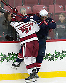 Frédéric Grégoire (Harvard - 71), Scott Reedy (NTDP - 10) - The Harvard University Crimson defeated the US National Team Development Program's Under-18 team 5-2 on Saturday, October 8, 2016, at the Bright-Landry Hockey Center in Boston, Massachusetts.