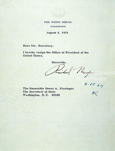 On the morning of August 9, 1974, the day following President Nixon's televised resignation speech, White House Chief of Staff Alexander Haig presented this letter to President Nixon to sign. The President's resignation letter is addressed to the Secretary of State, in keeping with a law passed by Congress in 1792. The letter became effective when Secretary of State Henry Kissinger initialed it at 11:35 a.m. National Archives, General Records of the Department of State..Credit: National Archives via CNP