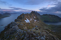 Mountain view at midnight from Nonstind mountain peak, Vestvågøy, Lofoten Islands, Norway