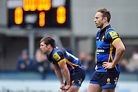 Chris Pennell of Worcester Warriors looks on during a break in play. Aviva Premiership match, between Worcester Warriors and Bath Rugby on February 13, 2016 at Sixways Stadium in Worcester, England. Photo by: Patrick Khachfe / Onside Images