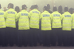 Miners strike police cordon Shirebrook  Derbyshire UK 1984