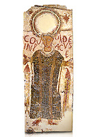 5th century Eastern Roman Byzantine   funerary mosaic from Tarbaka in the Roman province of Africa Proconsularis , present day Tunisia, with a crown at the top probably a Christogram  (Latin Monogramma Christi ) is a monogram used as an abbreviation for the name of Jesus Christ, with a figure below and a latin text for the deceased &quot; Covuldeus in peace&quot;. Either side of the figure are a lit candle which symbolises eternal faith. The Bardo National Museum, Tunis Tunisia.  Against a white background.<br />