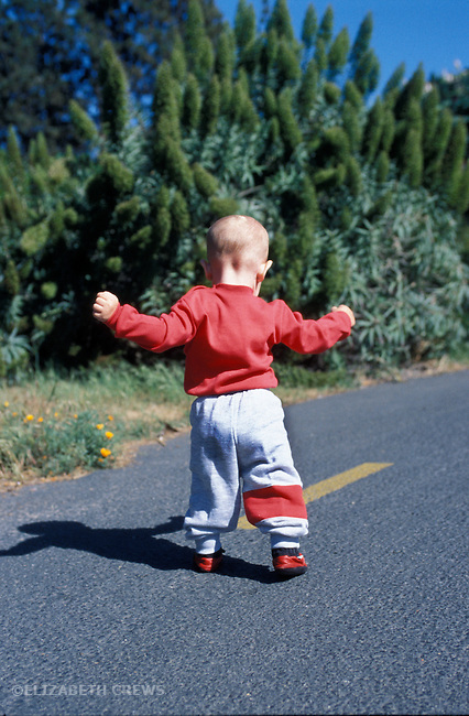 Berkeley CA Boy, age 1 year, practicing walking