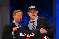 The 19th overall pick \linebacker Shea McClellin (Boise State) of the Chicago Bears with NFL commissioner Roger Goodell during the first round of the 2012 NFL Draft at Radio City Music Hall in New York, NY, on April 26, 2012.
