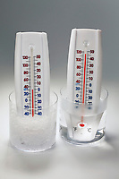 THERMAL EXPANSION OF A LIQUID<br /> Temperature Relates to Kinetic Energy of Atoms<br /> Atoms move faster at higher temperatures. The liquid inside a thermometer expands when placed in proximity to heat, indicating a higher temperature. When the thermometer is placed in ice water, the liquid inside the thermometer contracts as it cools.