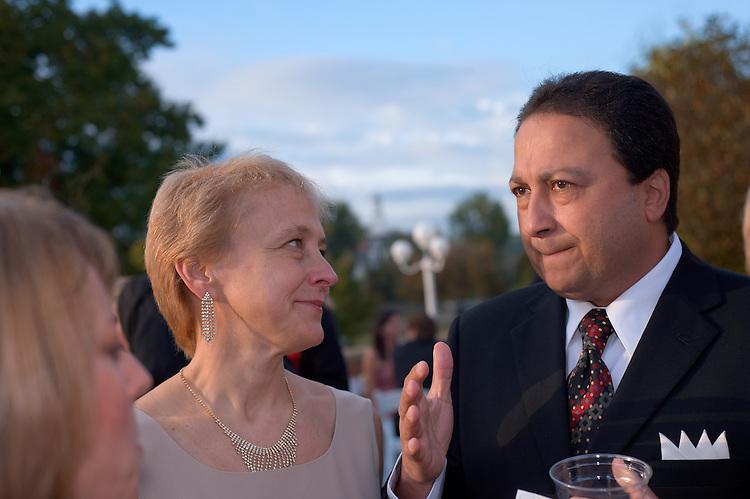 Homecoming 2008: Alumni Awards Gala 9/26/2008.....Medal of Merit:.Jeanne M & Sedat I. Goken talks with Brooke Hallowell