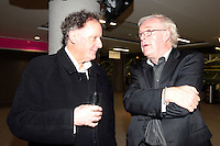4/11/10 Vincent Browne with An Bord Snip Chairman Colm McCarthy at the launch of John Giles autobiography A Football Man, at the Aviva Stadium, Dublin. Picture:Arthur Carron/Collins