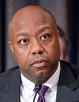 United States Senator Tim Scott (Republican of South Carolina) during the confirmation hearing for R. Alexander Acosta, Dean of Florida International University College of Law and US President Donald J. Trump's nominee for US Secretary of Labor, on Capitol Hill in Washington, DC on Wednesday, March 22, 2017.<br /> Credit: Ron Sachs / CNP /MediaPunch