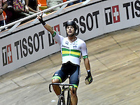 CALI – COLOMBIA – 18-02-2017: Sam Welsford de Australia, gana medalla de oro en la prueba Omnium varones, en el Velodromo Alcides Nieto Patiño, sede de la III Valida de la Copa Mundo UCI de Pista de Cali 2017. / Sam Welsford from Australia, win gold medal in Omnium Men Race at the Alcides Nieto Patiño Velodrome, home of the III Valid of the World Cup UCI de Cali Track 2017. Photo: VizzorImage / Luis Ramirez / Staff.
