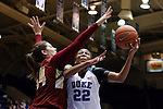 17 January 2016: Duke's Oderah Chidom (22) and Boston College's Mariella Fasoula (GRE) (34). The Duke University Blue Devils hosted the Boston College Eagles at Cameron Indoor Stadium in Durham, North Carolina in a 2015-16 NCAA Division I Women's Basketball game. Duke won the game 71-51.
