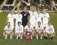 Starting eleven of the USA WNT during an international friendly match against the PRC WNT at PPL Park, on October 6 2010 in Chester, PA. The game ended in a 1-1 tie.
