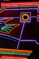 Neon lights art abstract photographed at night.