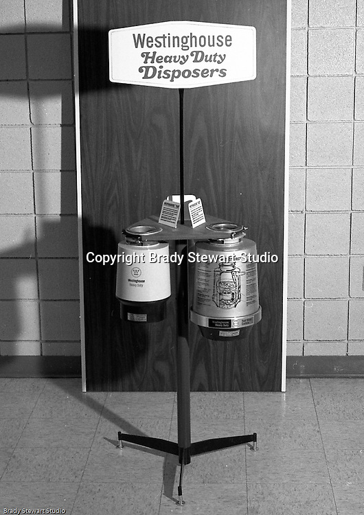 Pittsburgh PA: The new Westinghouse Heavy Duty Disposers.  On location photography at a Sears Roebuck store at the new Northway Center Mall on McKnight Road in the North Hills