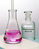 TITRATION OF AN ACID WITH A BASE- PHENOLPHTHALEIN (2 of 2)<br /> Endpoint Of Titration Is Reached<br /> 0.1M sodium hydroxide solution is in buret.  Solution of vinegar (5% acidity), water &amp; phenolphthalein is in Erlenmeyer flask.  As pH approaches 9, endpoint of titration is reached and phenolphthalein turns pink.