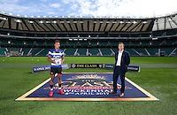 """Anthony Watson of Bath Rugby and Managing Director Tarquin McDonald. Bath Rugby Photocall for """"The Clash"""" on September 22, 2016 at Twickenham Stadium in London, England. Photo by: Andrew Fosker / Onside Images"""