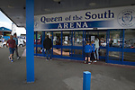 Queen of the South 2 Stranraer 0, 11/08/2015. Scottish Challenge Cup first round, Palmerston Park. Supporters gathering outside Palmerston Park, Dumfries, before Queen of the South hosted Stranraer in a Scottish Challenge Cup first round match. The game was the opening match of the season in a competition open to sides below the Scottish Premiership. Queen of the South won the match 2-0, watched by a crowd of 1229 spectators. Photo by Colin McPherson.