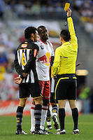 Ibrahim Salou (29) of the New York Red Bulls receives a yellow card during the first half of a friendly between Santos FC and the New York Red Bulls at Red Bull Arena in Harrison, NJ, on March 20, 2010. The Red Bulls defeated Santos FC 3-1.