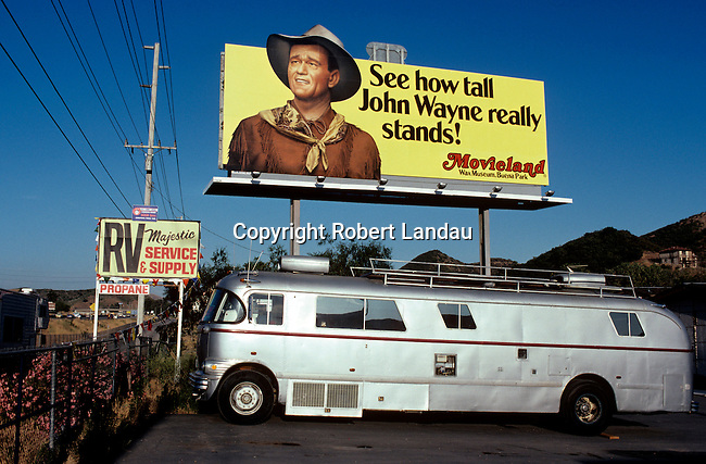 John Wayne depicted on billboard for the Movieland Wax Museum, Los Angeles, CA