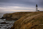 Oregon, west central, Newport. Yaquina head lighthouse on a grey afternoon.