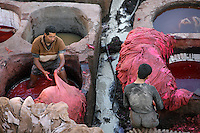 High angle view of workers in the dyeing pits, Chouara Tannery, Fez, Morocco, pictured on February 25, 2009 in the evening. The Chouara tannery is the largest of the four ancient tanneries in the Medina of Fez where the traditional work of the tanners has remained unchanged since the 14th century. It is composed of numerous dried-earth pits where raw skins are treated, pounded, scraped and dyed. Tanners work in vats filled with various coloured liquid dyes derived from plant sources. Colours change every two weeks, poppy flower for red, mint for green, indigo for blue, chedar tree for brown and saffron for yellow. Fez, Morocco's second largest city, and one of the four imperial cities, was founded in 789 by Idris I on the banks of the River Fez. The oldest university in the world is here and the city is still the Moroccan cultural and spiritual centre. Fez has three sectors: the oldest part, the walled city of Fes-el-Bali, houses Morocco's largest medina and is a UNESCO World Heritage Site;  Fes-el-Jedid was founded in 1244 as a new capital by the Merenid dynasty, and contains the Mellah, or Jewish quarter; Ville Nouvelle was built by the French who took over most of Morocco in 1912 and transferred the capital to Rabat. Picture by Manuel Cohen.