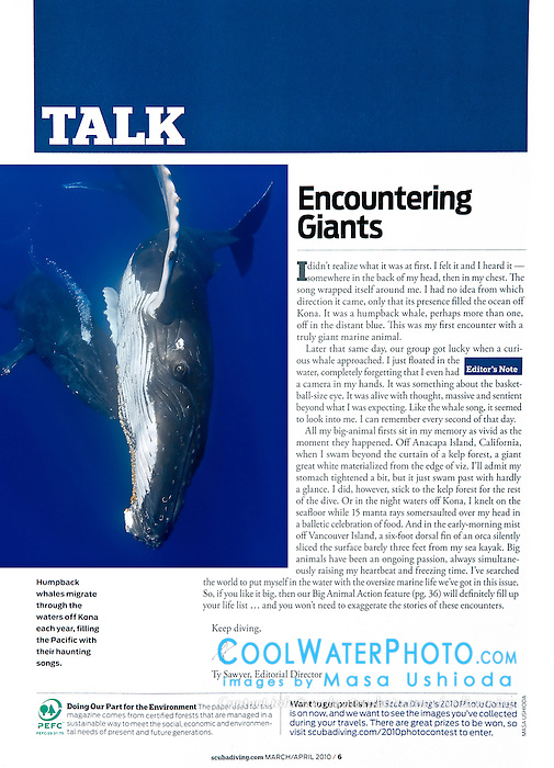Scuba Diving Magazine, March/April 2010, editorial use, USA, Image ID: Humpback-Whale-0177