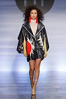 Model walks runway in an outfit by Ayao Sasaki, during the Future of Fashion 2017 runway show at the Fashion Institute of Technology on May 8, 2017.