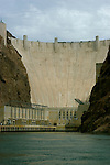 Hoover Dam on border of Arizona, AZ, Nevada, NV, flood control, drinking water source, Colorado River, image nv414-18638.Photo copyright: Lee Foster, www.fostertravel.com, lee@fostertravel.com, 510-549-2202