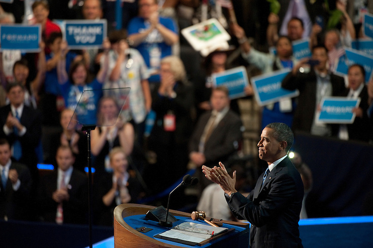 UNITED STATES - September 6 : President Barack Obama during his nomination acceptance speech at the Democratic National Convention at the Time Warner Cable Arena in Charlotte, North Carolina, on September 6, 2012. (Photo By Douglas Graham/CQ Roll Call)