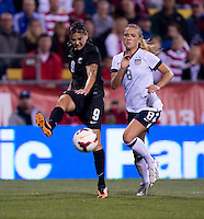 Amber Hearn, Kristie Mewis. The USWNT tied New Zealand, 1-1, at an international friendly at Crew Stadium in Columbus, OH.