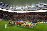 USA team, Japanese Team, WWC Trophy.  Japan won the FIFA Women's World Cup on penalty kicks after tying the United States, 2-2, in extra time at FIFA Women's World Cup Stadium in Frankfurt Germany.